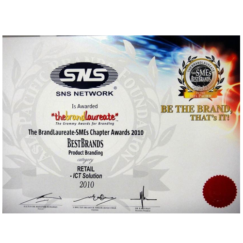 The BrandLaureate Awards 2010 certificate 500X500