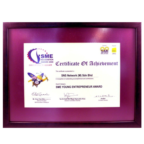 The SME Young Entrepreneurs Awards 2008 certificate 500X500