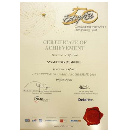 Top 2 Company in the Enterprise 50 Awards 2010 certificate 500X500